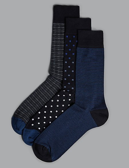 3 Pack Modal Blend Assorted Socks