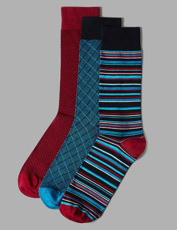 b58ffa95909 3 Pack Assorted Socks with Cotton