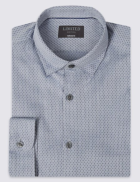 Pure Cotton Tailored Fit Printed Shirt