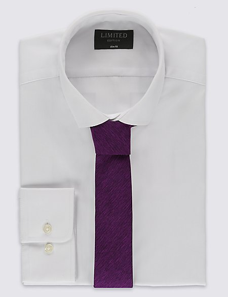 Easy to Iron Slim Fit Shirt with Tie