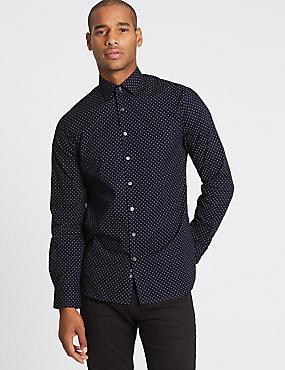 Pure Cotton Modern Slim Fit Shirt, NAVY MIX, catlanding