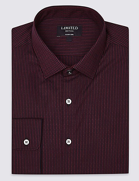 Pure Cotton Modern Slim Fit Striped Shirt