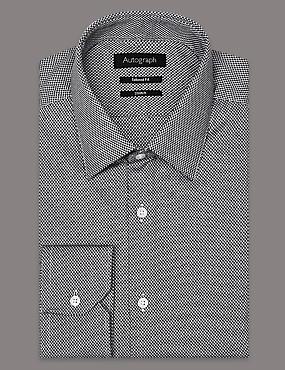 Cotton Rich Tailored Fit Textured Shirt, GREEN MIX, catlanding
