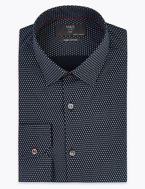 Pure Cotton Slim Fit Mini Swirl Print Shirt