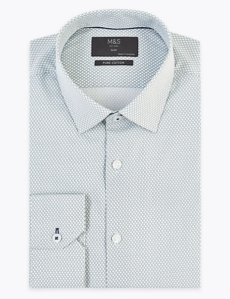Pure Cotton Slim Fit Grid Print Shirt