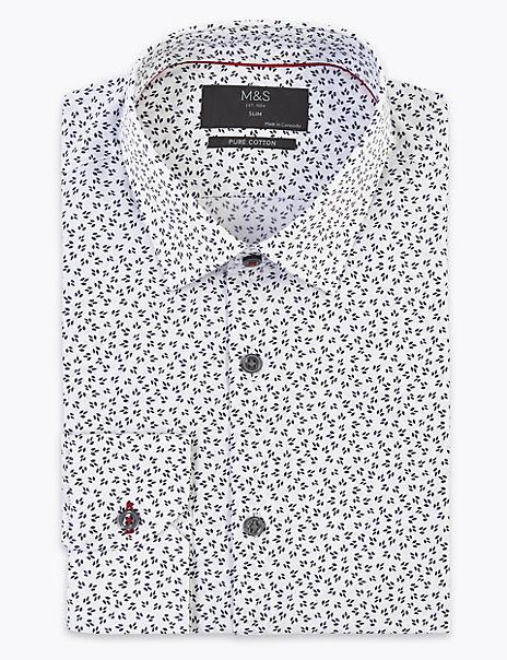 Pure Cotton Slim Fit Pips Print Shirt