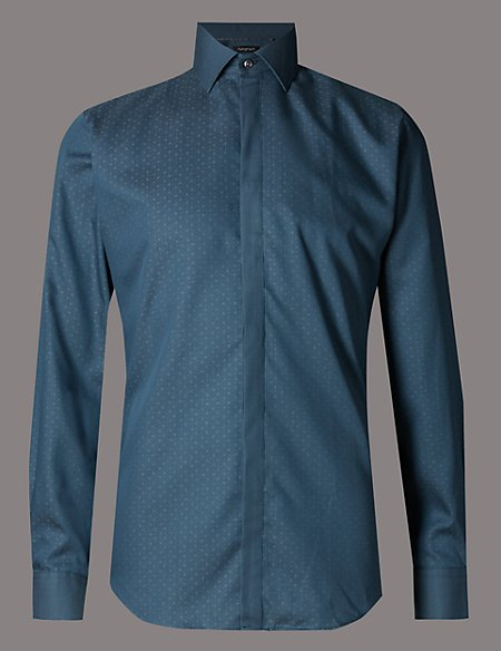 Pure Cotton Tailored Fit Tonal Dobby Shirt