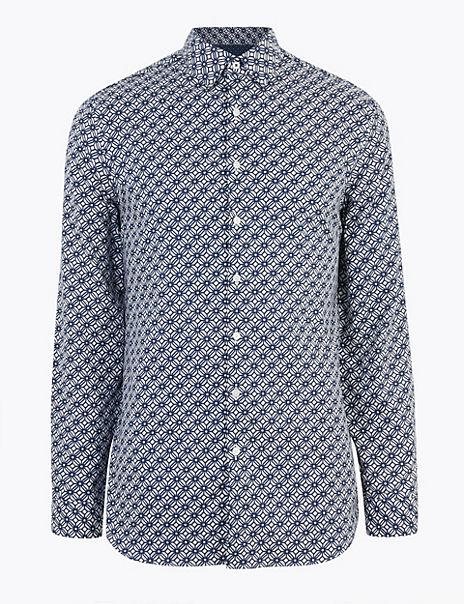 Slim Fit Pure Cotton Printed Shirt
