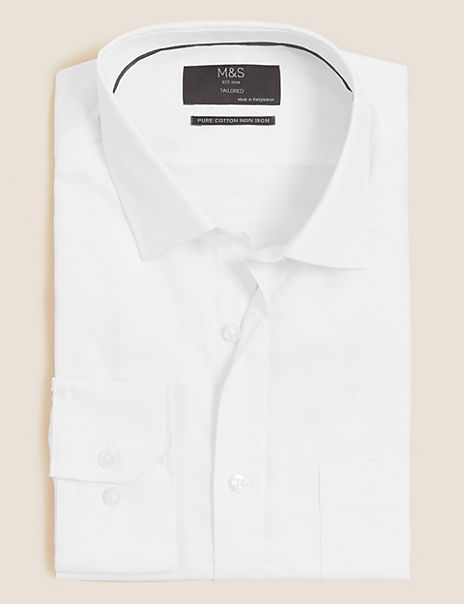 Pure Cotton Non-Iron Tailored Fit Twill Shirt