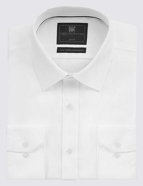 Pure Cotton Slim Fit Non Iron Twill Shirt