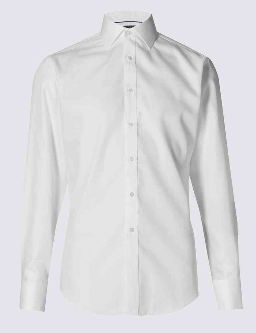 a9775e0512c7 Performance Pure Cotton Slim Fit Non-Iron Twill Shirt | M&S Collection | M&S