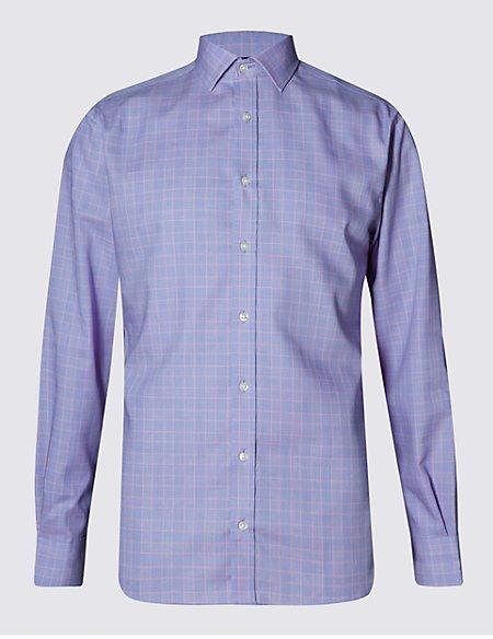Pure Cotton Non-Iron Slim Fit Checked Shirt