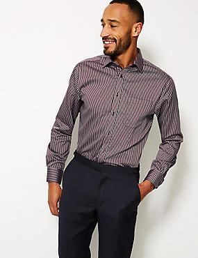 Pure Cotton Non-Iron Regular Fit Shirt, BURGUNDY MIX, catlanding