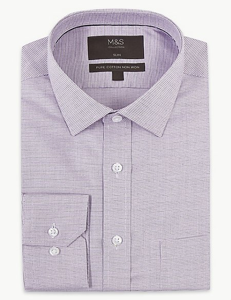 Pure Cotton Slim Fit Non-Iron Shirt
