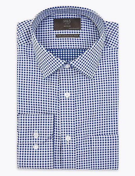Shorter Length Slim Fit Gingham Shirt