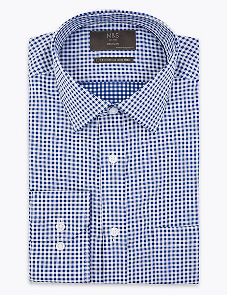 Pure Cotton Regular Fit Checked Non-Iron Shirt