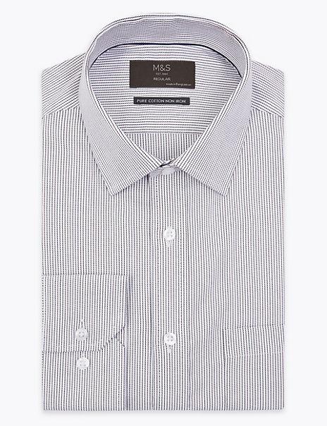 Regular Fit Twill Stripe Non-Iron Shirt