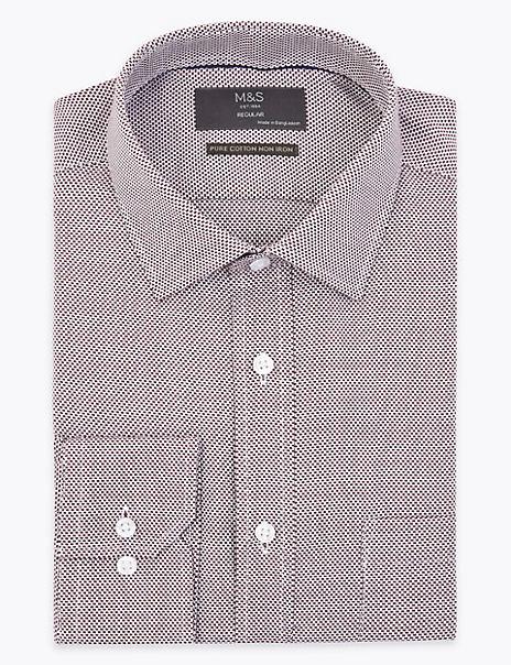 Pure Cotton Regular Fit Textured Non-Iron Shirt