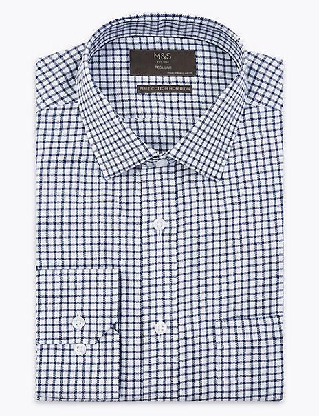 Regular Fit Checked Twill Non-Iron Shirt