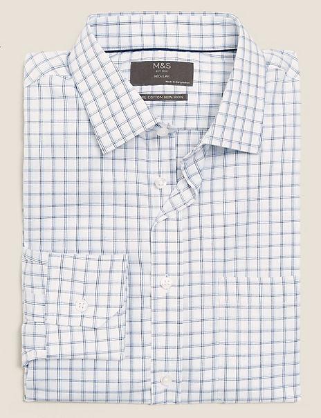 Cotton Twill Non-Iron Check Shirt
