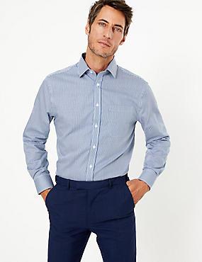 Camisa de rayas de ajuste estándar sin planchado