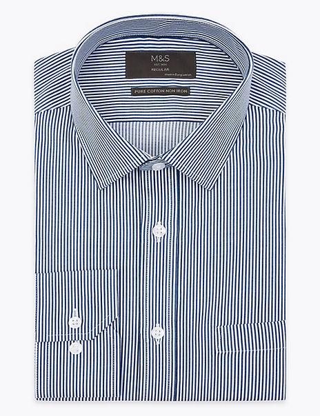 Pure Cotton Regular Fit Striped Non-Iron Shirt