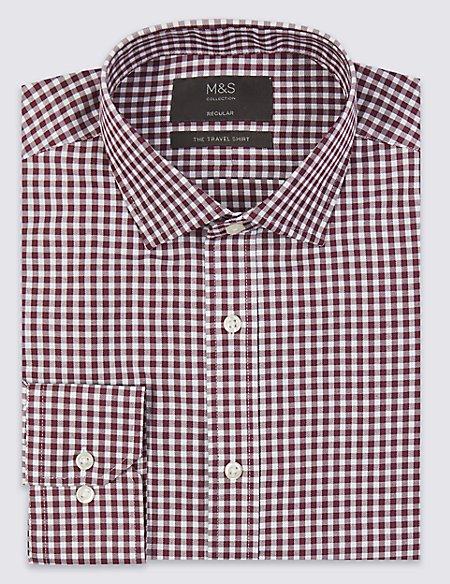 Cotton Blend Non-Iron Twill Regular Fit Shirt
