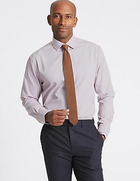 Cotton Blend Non-Iron Regular Fit Shirt, BURGUNDY MIX, catlanding