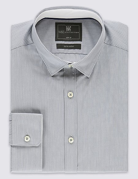 Pure Cotton Easy to Iron Striped Slim Fit Shirt