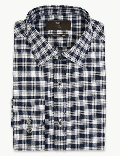 Cotton Twill Checked Tailored Fit Shirt