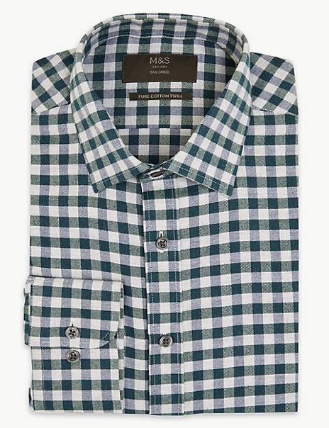 Cotton Twill Gingham Tailored Fit Shirt