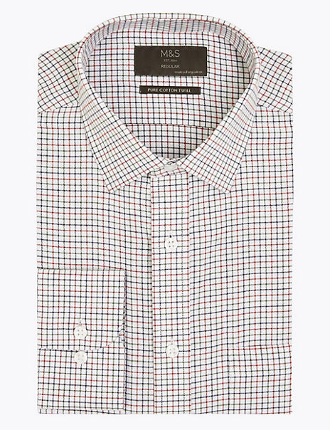 Cotton Regular Fit Tattersall Checked Shirt