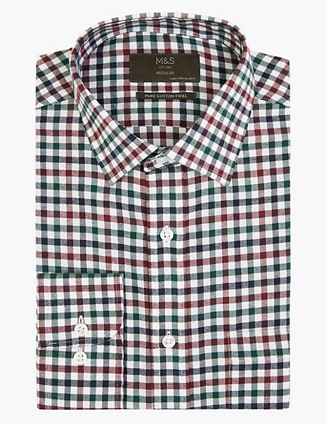 Pure Cotton Regular Fit Twill Checked Shirt