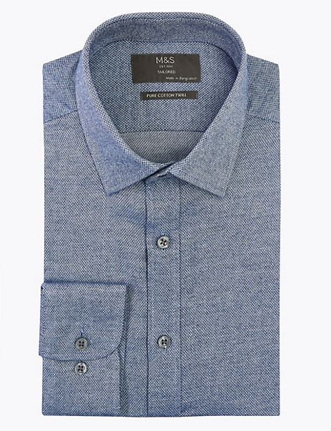 Cotton Twill Easy Iron Tailored Fit Shirt
