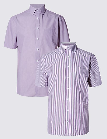 2 Pack Easy to Iron Short Sleeve Hairline Striped Shirts