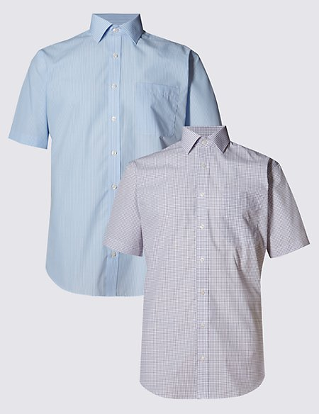 2 Pack Easy to Iron Short Sleeve Assorted Shirts