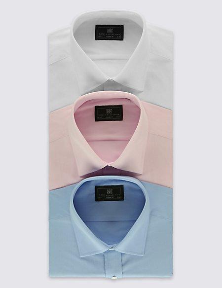 3 Pack Cotton Blend Regular Fit Shirts