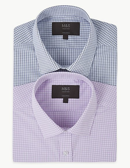 2 Pack Cotton Blend Tailored Fit Shirts