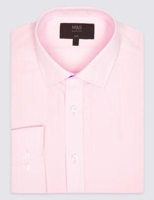 Cotton Blend Slim Fit Shirt by Marks & Spencer