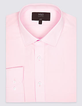 Cotton Blend Easy to Iron Slim Fit Shirt