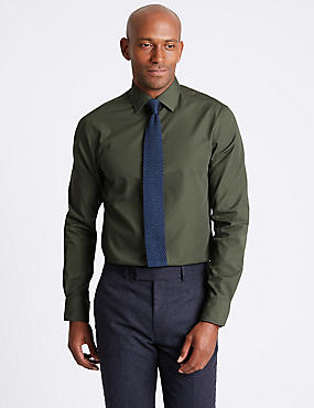 Cotton Blend Slim Fit Shirt