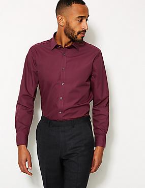 Cotton Blend Regular Fit Shirt , BURGUNDY, catlanding