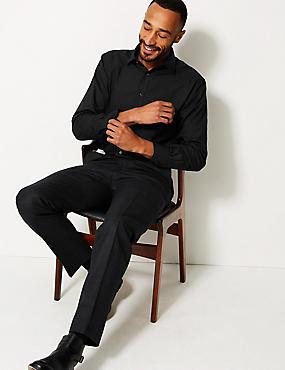 Cotton Blend Regular Fit Shirt , BLACK, catlanding