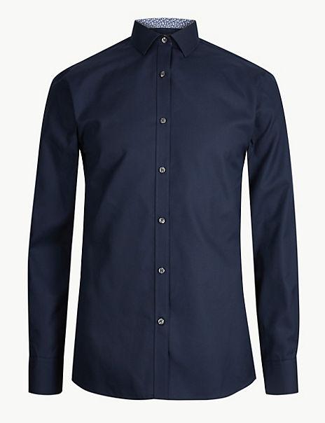 Cotton Blend Skinny Fit Shirt