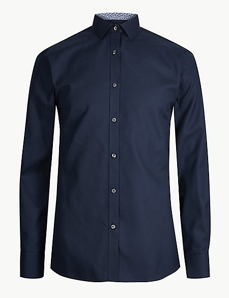 Cotton Blend Skinny Fit Shirt