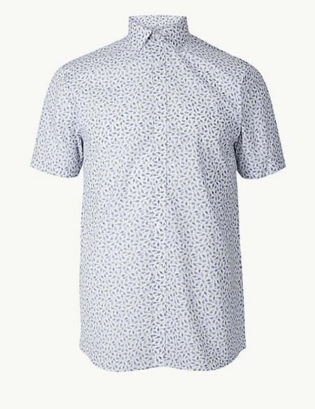 Cotton Blend Slim Fit Printed Shirt