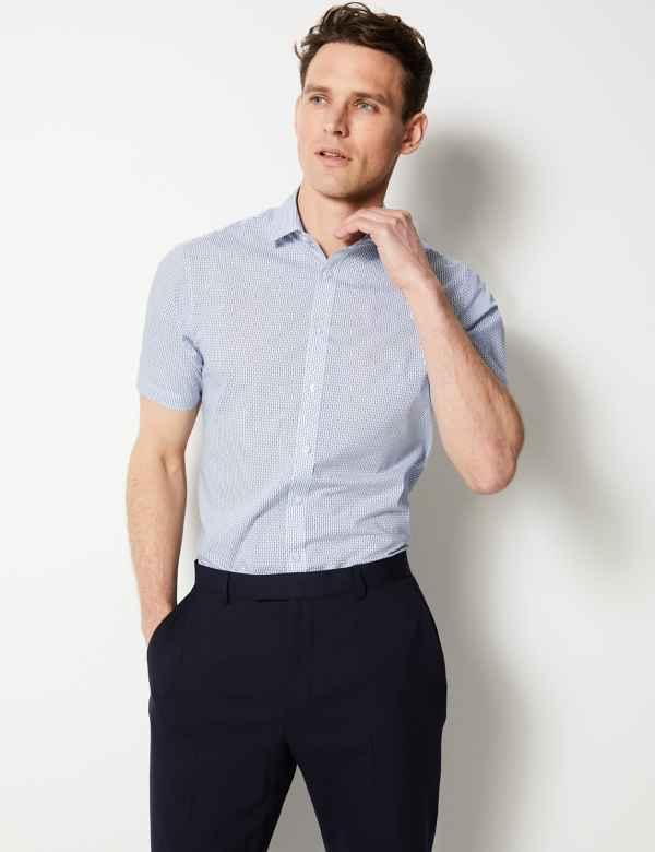 dd864ed5 Cotton Blend Slim Fit Printed Shirt
