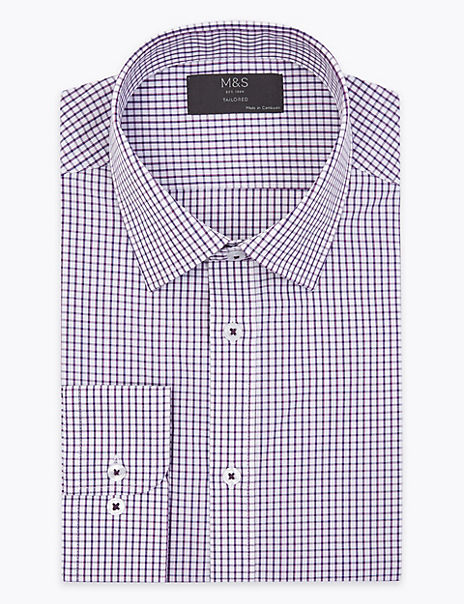 Tailored Fit Checked Easy Iron Shirt