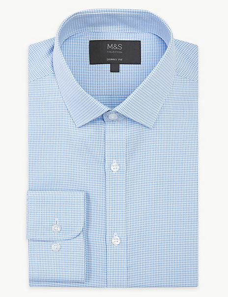 Textured Check Skinny Fit Shirt