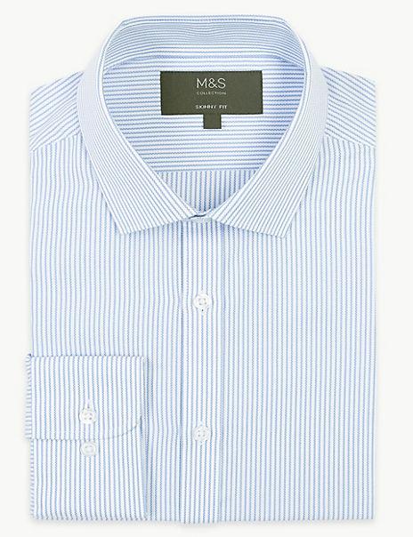Skinny Fit Striped Oxford Shirt